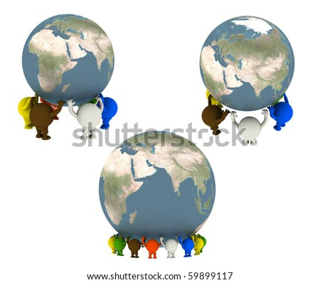 Group of smileys supported the Globe. Concept render - stock photo