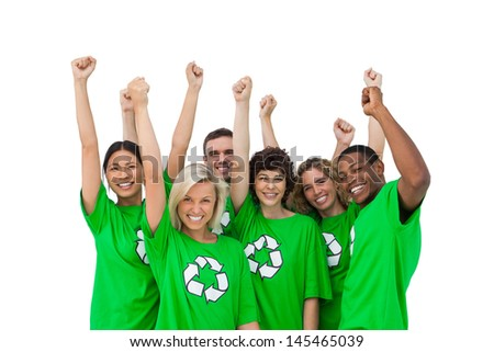 Group of smiling activists raising arms on white background