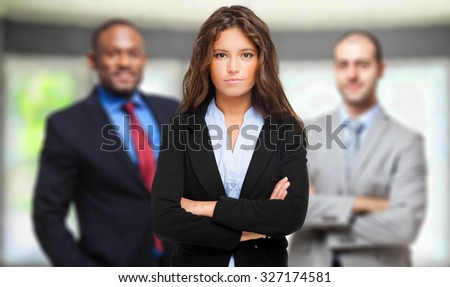 Group of smiling business people - stock photo