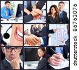 Group of smiling business people. Business team. Collage. - stock photo