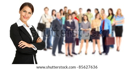 Group of smiling business people. Business team. Isolated over white background - stock photo