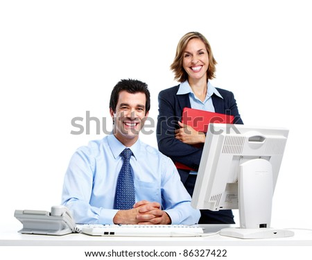 Group of smiling business people. Businessman and woman . Isolated over white  background. - stock photo