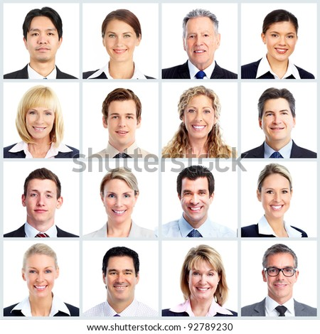 Group of smiling business people. Businessman and woman team. Isolated over white  background. - stock photo