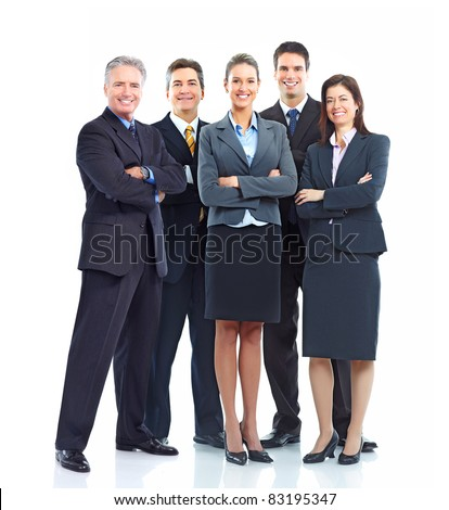 Group of smiling business people. Isolated over white background. - stock photo