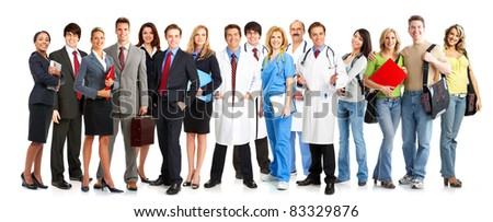 Group of smiling business people.Isolated over white background. - stock photo