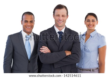 Group of smiling business people standing together on white background - stock photo