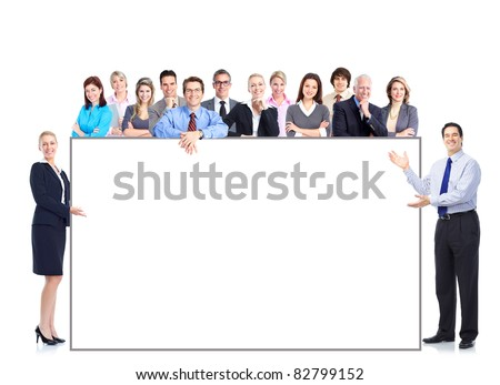 Group of smiling business people with placard. Business team. - stock photo