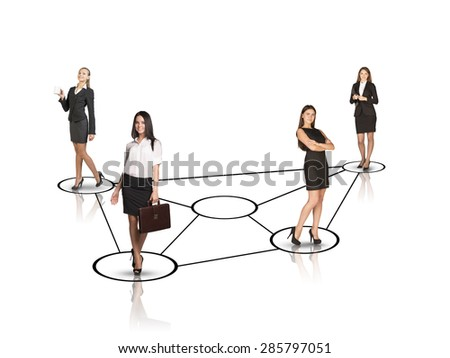 Group of smiling businesswomen looking at camera on isolated white background