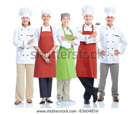 Group of smiling chefs.  Isolated over white background. Gourmet. - stock photo
