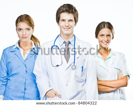 Group of smiling doctors. Isolated on white. - stock photo