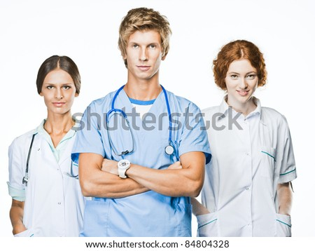 Group of smiling doctors. Isolated on white.