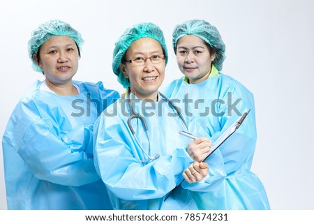 Group of smiling female medical doctor and nurse with stethoscope and clipboard