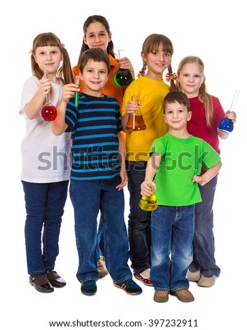 Group of smiling kids holding a chemical flasks, isolated on white - stock photo