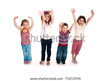 Group of smiling kids over white background - stock photo
