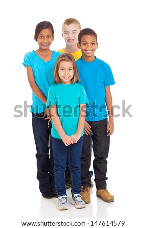 group of smiling kids standing together on white background - stock photo