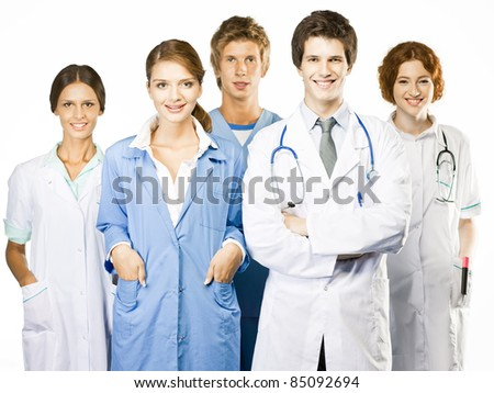 Group of smiling medical on white background - stock photo