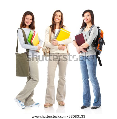 group of smiling  student women. Isolated over white background - stock photo