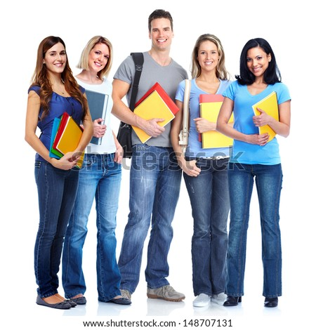 Group of smiling  students. Isolated over white background