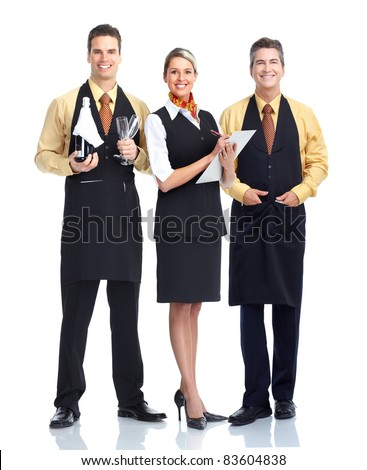 Group of smiling waiters. Isolated over white background. - stock photo
