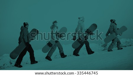 Group of Snowboarders Extreme Skiing Concept