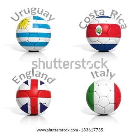 Group of soccer balls Uruguay,Costa Rica,England,Italy isolated - stock photo