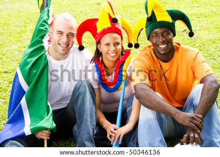 group of soccer fans - stock photo