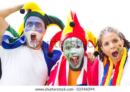 group of soccer fans watching a game - stock photo