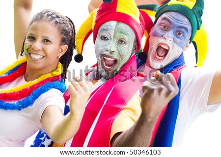 group of soccer super fan cheering a game, isolated on white - stock photo