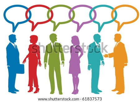 Group of social media or business people talk speech bubble link chain - stock photo