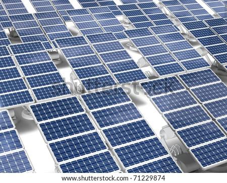 Group of solar energy panels - stock photo