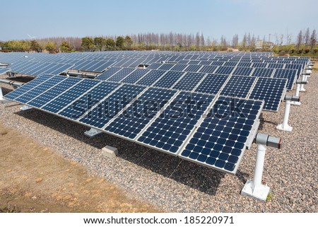 group of solar energy panels ,,clean energy concept  - stock photo