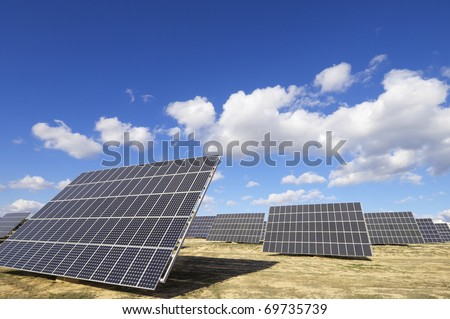 group of solar panels for production of renewable electrical energy in Saragossa province, Aragon, Spain - stock photo