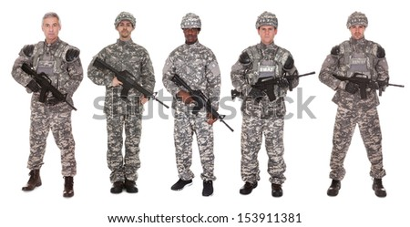 Group Of Soldier Holding Rifle Over White Background - stock photo