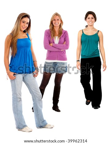 Group of some casual women isolated over white