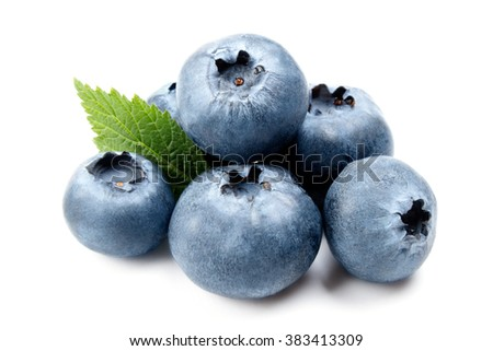Group of some fresh ripe blueberries isolated on white background. Close up macro shot - stock photo