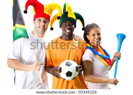 group of south african soccer fans, isolated on white