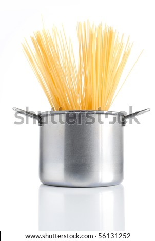 group of spaghetti inside a pot isolated on white background