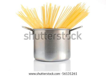 group of spaghetti inside a pot isolated on white background - stock photo