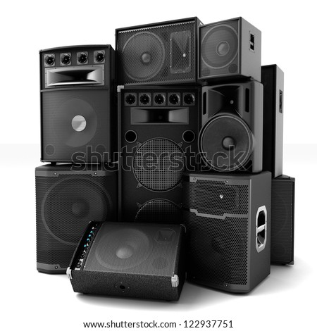 Group of speakers ,loud or abused concept - stock photo