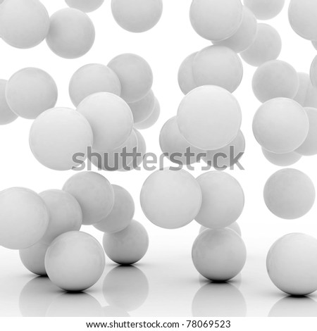 group of spheres falling on an abstract ground - stock photo