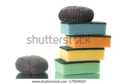 group of sponges for cleaning and home care - stock photo