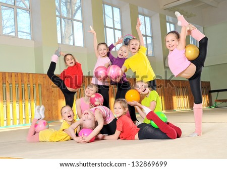 Group of sporty girls in gym - stock photo