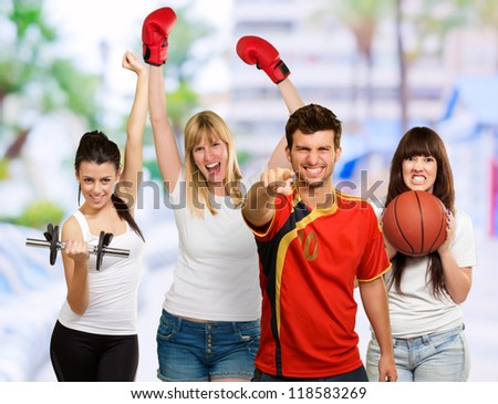 Group Of Sporty People, Outdoor - stock photo