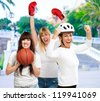 Group Of Sporty Woman, Outdoor - stock photo