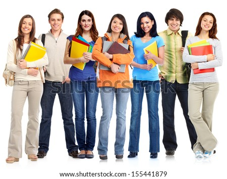 Group of standing students. Isolated on white background