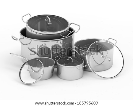 Group of Steel Pans isolated on white background