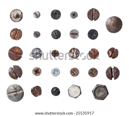 Group of steel skrew close up macro - stock photo