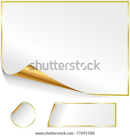 Group of stickers for advertising on a white background. - stock photo