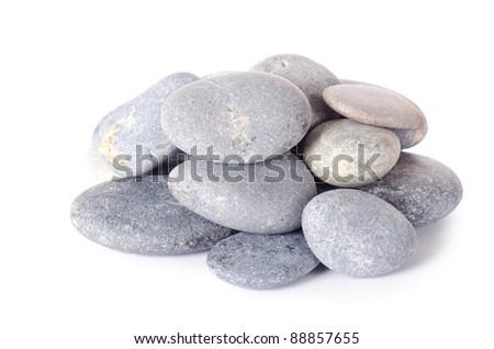 Group of stones isolated on white background - stock photo
