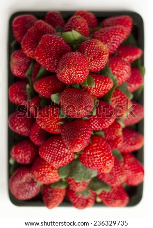 Group of strawberries shot from the top, with shallow depth of field